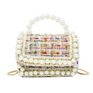 Tweed Pearl Handle Mini Bag